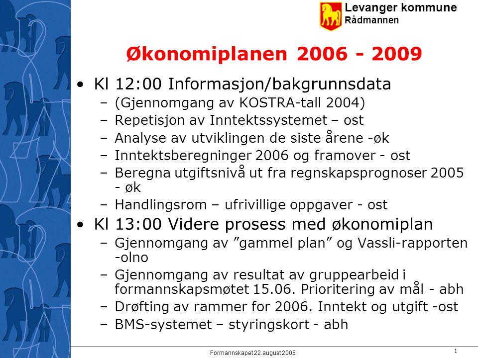Levanger kommune Rådmannen Formannskapet 22.august 2005 2 Antatt fordeling lovpålagt/ikke lovpålagte oppgaver