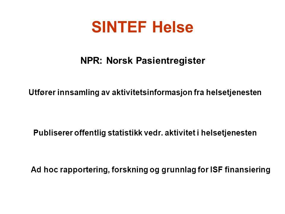 SINTEF Helse NPR: Norsk Pasientregister Utfører innsamling av aktivitetsinformasjon fra helsetjenesten Publiserer offentlig statistikk vedr. aktivitet