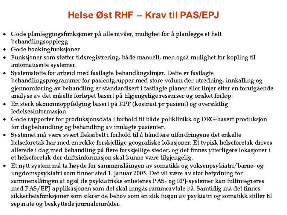 Helse Øst RHF – Krav til PAS/EPJ