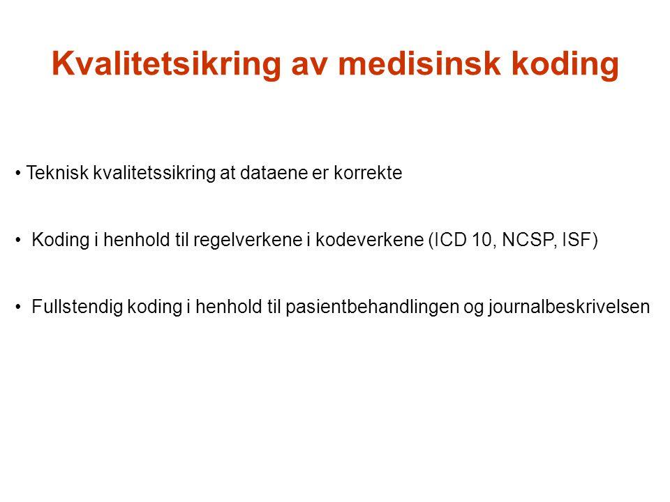 Kvalitetsikring av medisinsk koding Teknisk kvalitetssikring at dataene er korrekte Koding i henhold til regelverkene i kodeverkene (ICD 10, NCSP, ISF