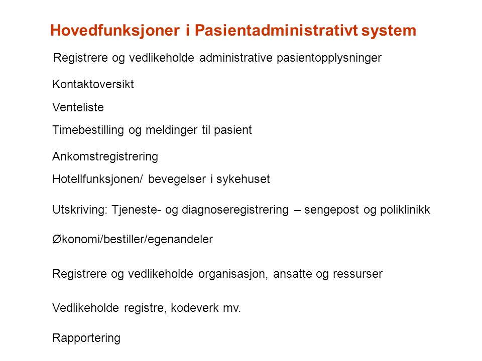 Registrere og vedlikeholde organisasjon, ansatte og ressurser Vedlikeholde registre, kodeverk mv. Rapportering Registrere og vedlikeholde administrati