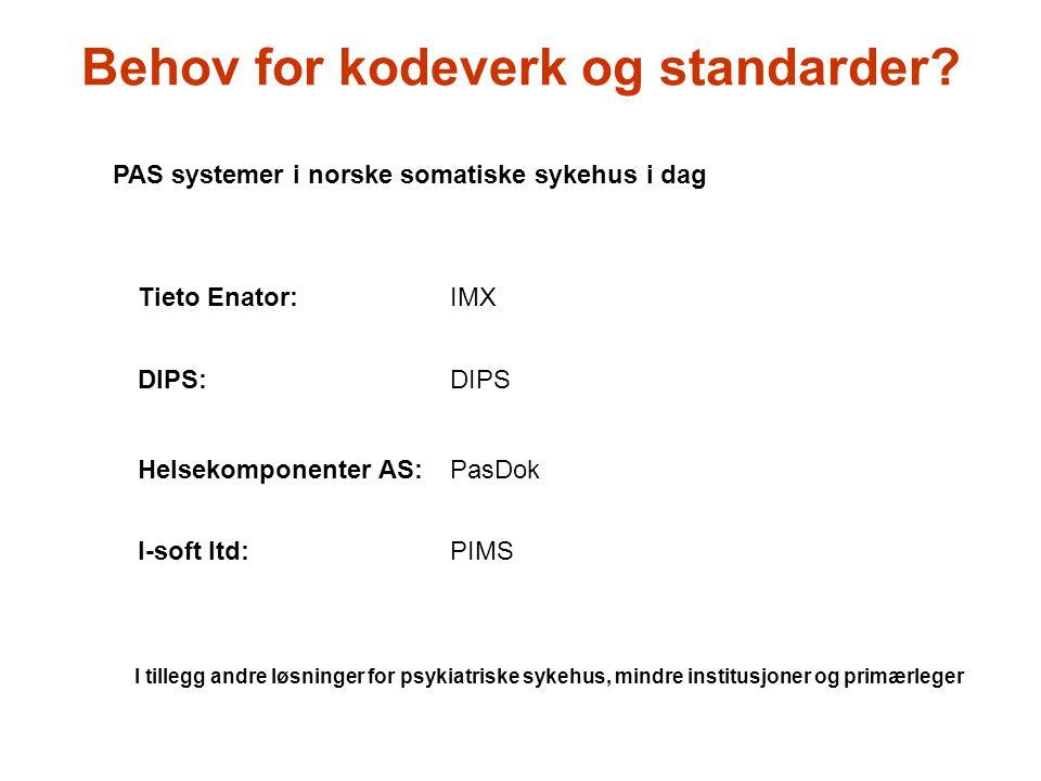 Tieto Enator:IMX DIPS:DIPS Helsekomponenter AS:PasDok I-soft ltd:PIMS I tillegg andre løsninger for psykiatriske sykehus, mindre institusjoner og prim