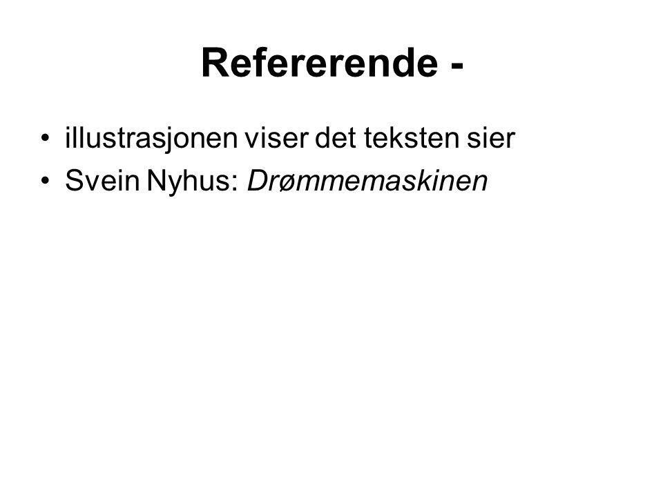 Refererende - illustrasjonen viser det teksten sier Svein Nyhus: Drømmemaskinen