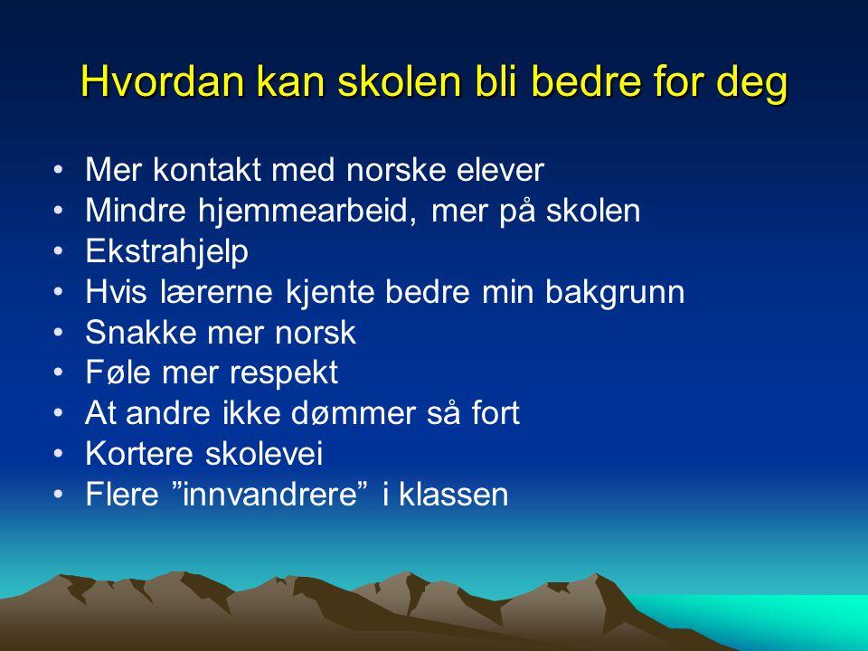 Hvordan kan skolen bli bedre for deg Mer kontakt med norske elever Mindre hjemmearbeid, mer på skolen Ekstrahjelp Hvis lærerne kjente bedre min bakgru