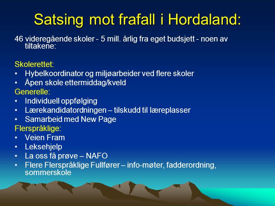 Satsing mot frafall i Hordaland: 46 videregående skoler - 5 mill. årlig fra eget budsjett - noen av tiltakene: Skolerettet: Hybelkoordinator og miljøa