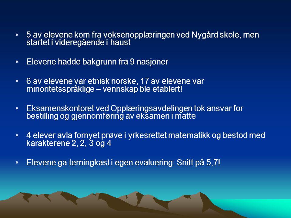 5 av elevene kom fra voksenopplæringen ved Nygård skole, men startet i videregående i haust Elevene hadde bakgrunn fra 9 nasjoner 6 av elevene var etn