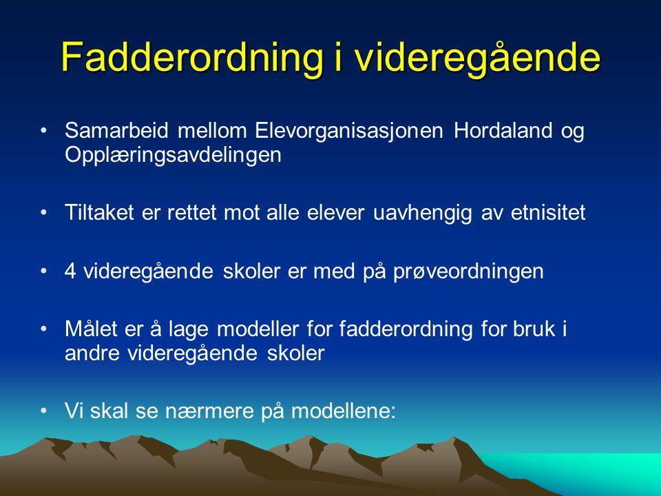 Fadderordning i videregående Samarbeid mellom Elevorganisasjonen Hordaland og Opplæringsavdelingen Tiltaket er rettet mot alle elever uavhengig av etn
