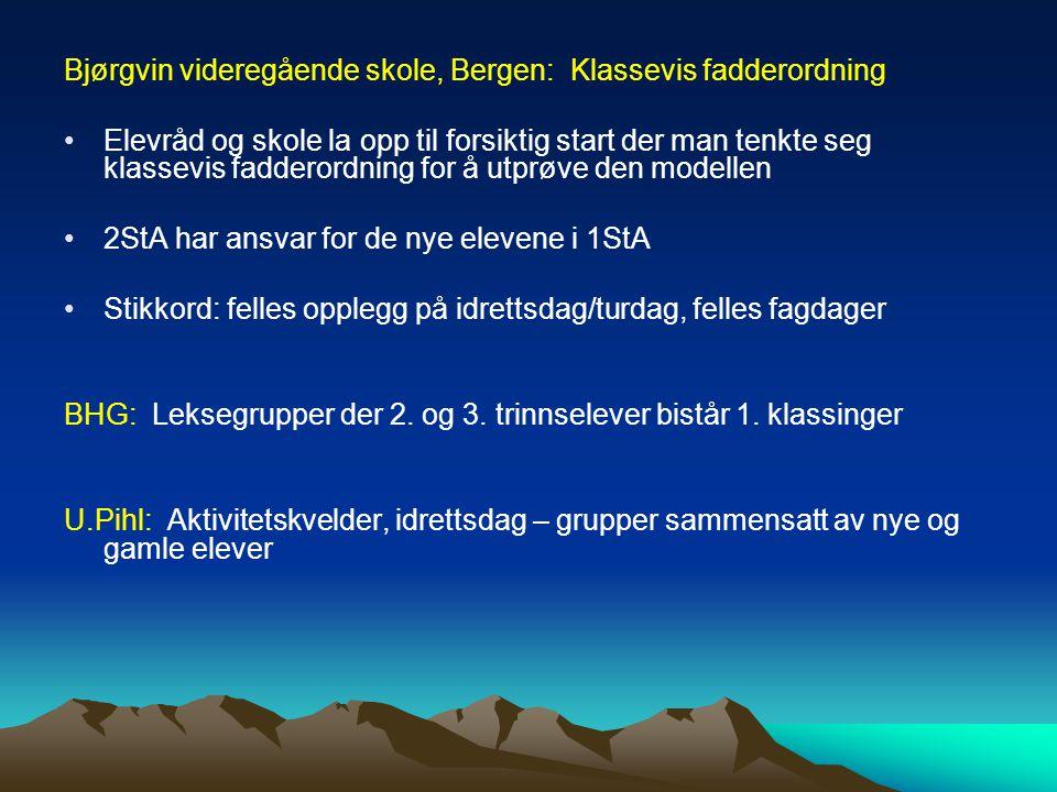 Bjørgvin videregående skole, Bergen: Klassevis fadderordning Elevråd og skole la opp til forsiktig start der man tenkte seg klassevis fadderordning fo