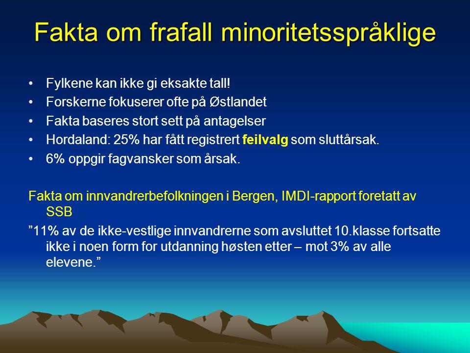 Fakta om frafall minoritetsspråklige Fylkene kan ikke gi eksakte tall! Forskerne fokuserer ofte på Østlandet Fakta baseres stort sett på antagelser Ho