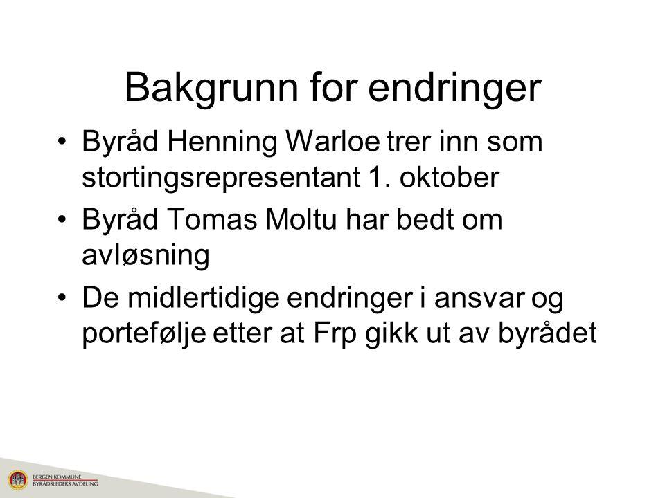 Bakgrunn for endringer Byråd Henning Warloe trer inn som stortingsrepresentant 1.
