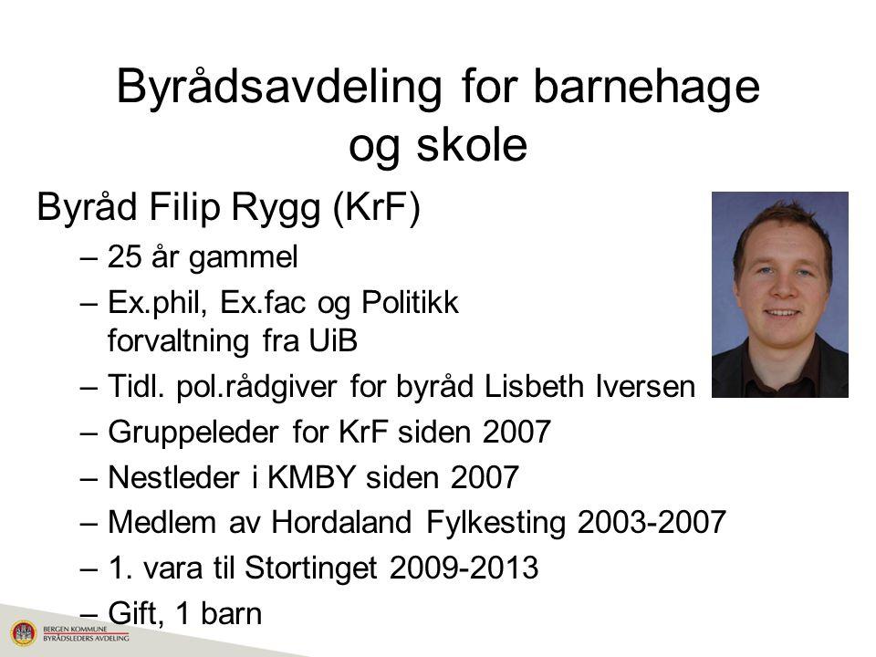 Byrådsavdeling for barnehage og skole Byråd Filip Rygg (KrF) –25 år gammel –Ex.phil, Ex.fac og Politikk og forvaltning fra UiB –Tidl.