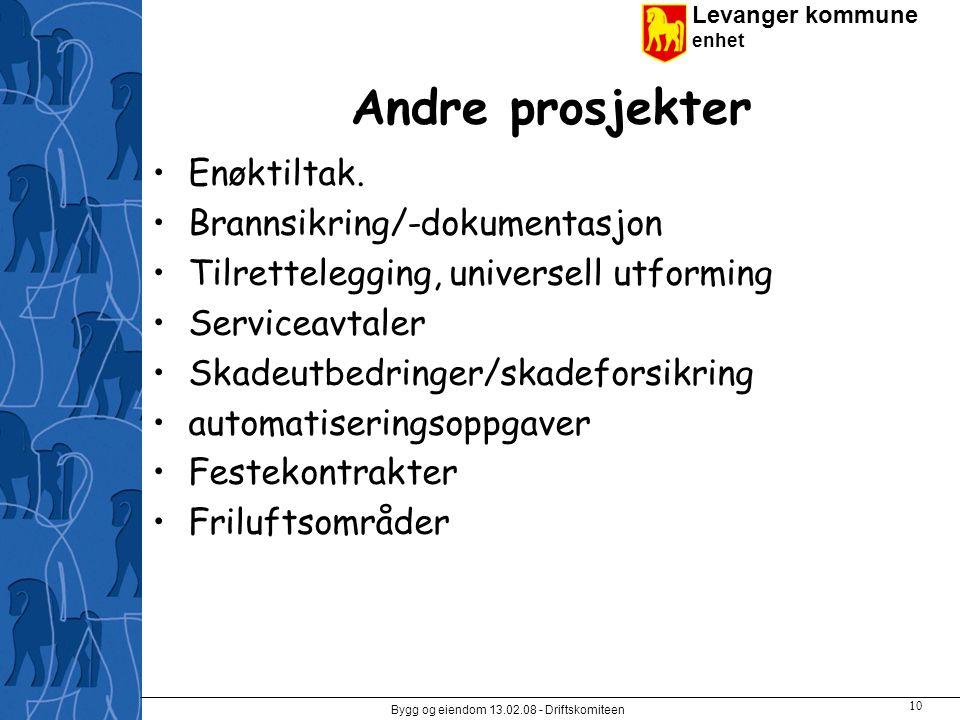 Levanger kommune enhet Bygg og eiendom 13.02.08 - Driftskomiteen 10 Andre prosjekter Enøktiltak.