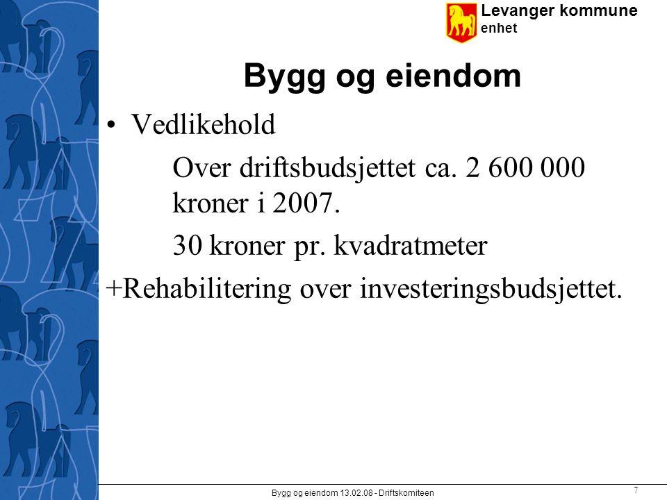 Levanger kommune enhet Bygg og eiendom 13.02.08 - Driftskomiteen 7 Bygg og eiendom Vedlikehold Over driftsbudsjettet ca. 2 600 000 kroner i 2007. 30 k