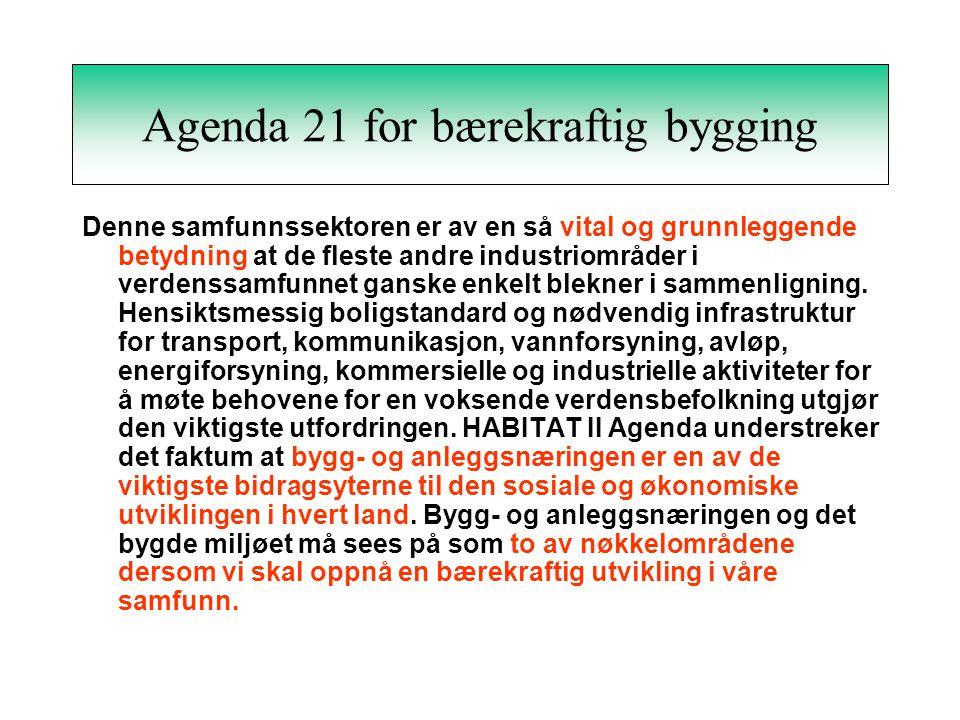 Internasjonal utvikling Verdenskommisjonen for miljø og utvikling (1987) FN konferanse for miljø og utvikling (Agenda 21) (1992) EU Byggevaredirektiv