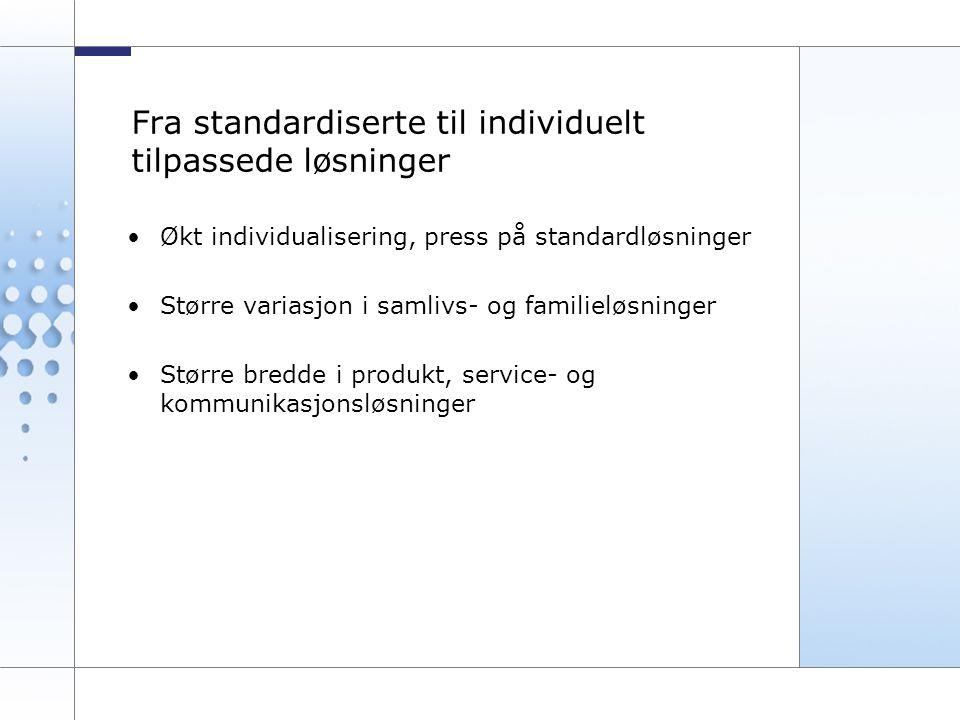 5 Fra standardiserte til individuelt tilpassede løsninger Økt individualisering, press på standardløsninger Større variasjon i samlivs- og familieløsninger Større bredde i produkt, service- og kommunikasjonsløsninger