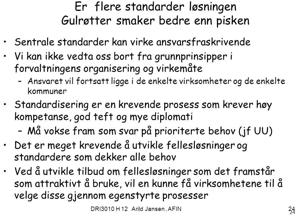 DRI3010 H 12 Arild Jansen, AFIN 24 Er flere standarder løsningen Gulrøtter smaker bedre enn pisken Sentrale standarder kan virke ansvarsfraskrivende V