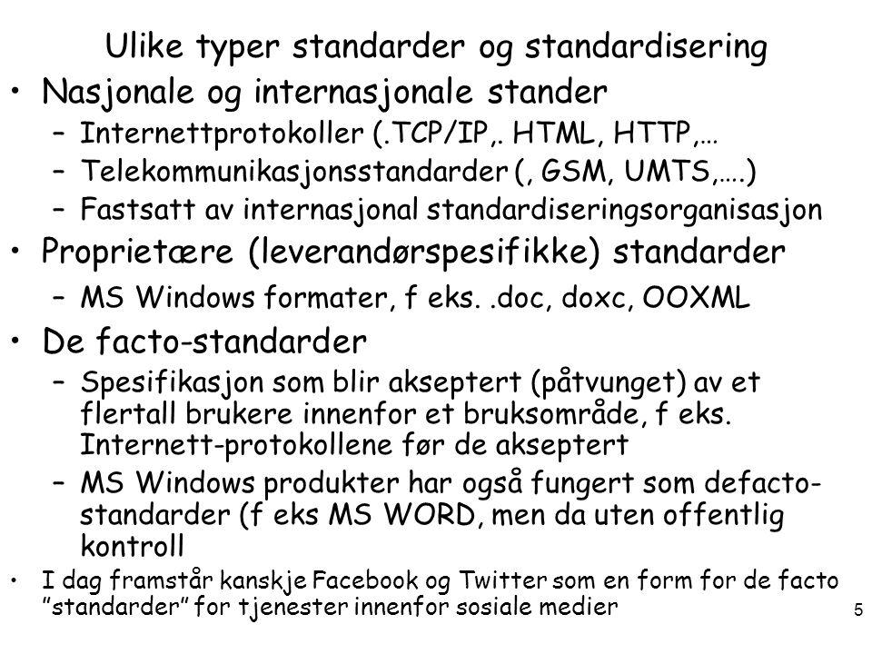 DRI3010 H 12 Arild Jansen, AFIN 6 Eksempler på standarder innen IKT Tekniske standarder (spesifikasjoner) –Internett standarder (IP/TCP, HTML, XML) –Åpne format standarder (PDF,..) Kvalitetsstandarder (prosesser) –NS 5814: Krav til risikovurderinger –NS-ISO 27002: Administrasjon av informasjonssikkerhet Standarder blir vanligvis utviklet og vedlikeholdt av en standardiseringsorganisasjon på nasjonalt, europeisk eller globalt plan.