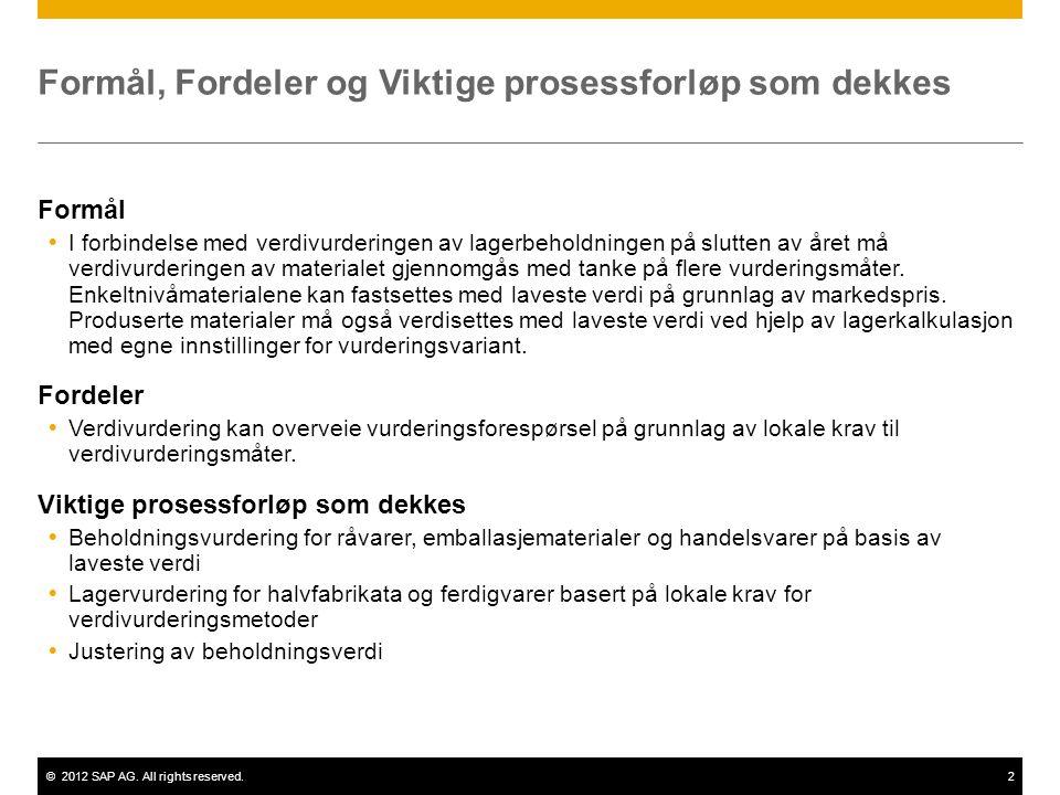 ©2012 SAP AG. All rights reserved.2 Formål, Fordeler og Viktige prosessforløp som dekkes Formål  I forbindelse med verdivurderingen av lagerbeholdnin