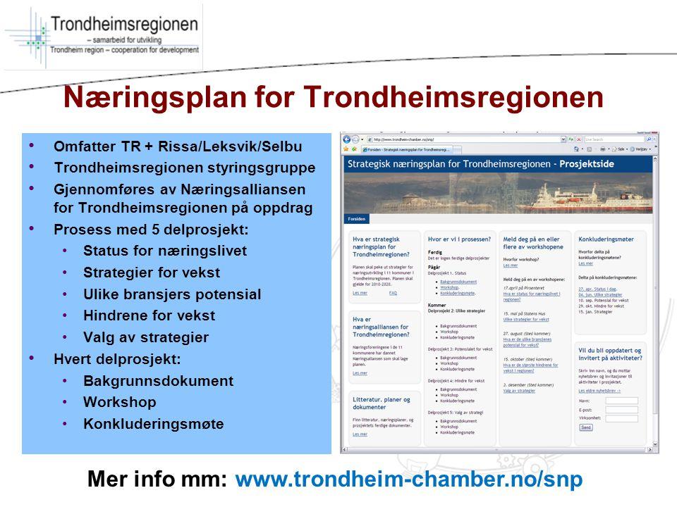 Næringsplan for Trondheimsregionen Omfatter TR + Rissa/Leksvik/Selbu Trondheimsregionen styringsgruppe Gjennomføres av Næringsalliansen for Trondheims
