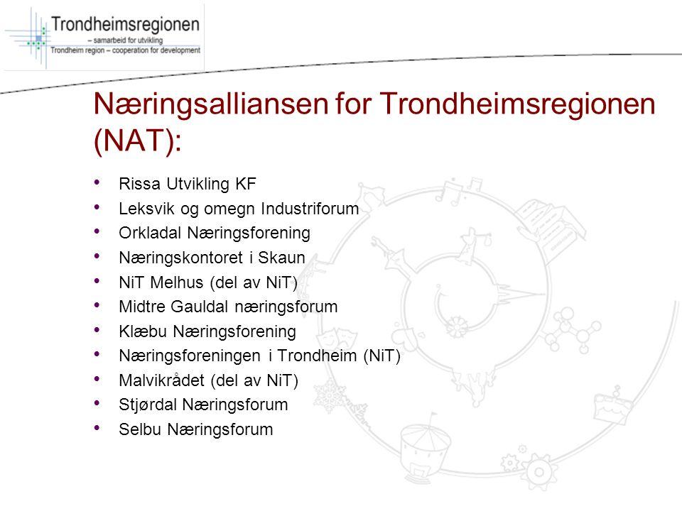 Næringsalliansen for Trondheimsregionen (NAT): Rissa Utvikling KF Leksvik og omegn Industriforum Orkladal Næringsforening Næringskontoret i Skaun NiT
