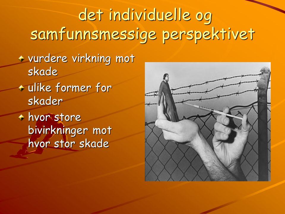 det individuelle og samfunnsmessige perspektivet det individuelle og samfunnsmessige perspektivet vurdere virkning mot skade ulike former for skader hvor store bivirkninger mot hvor stor skade