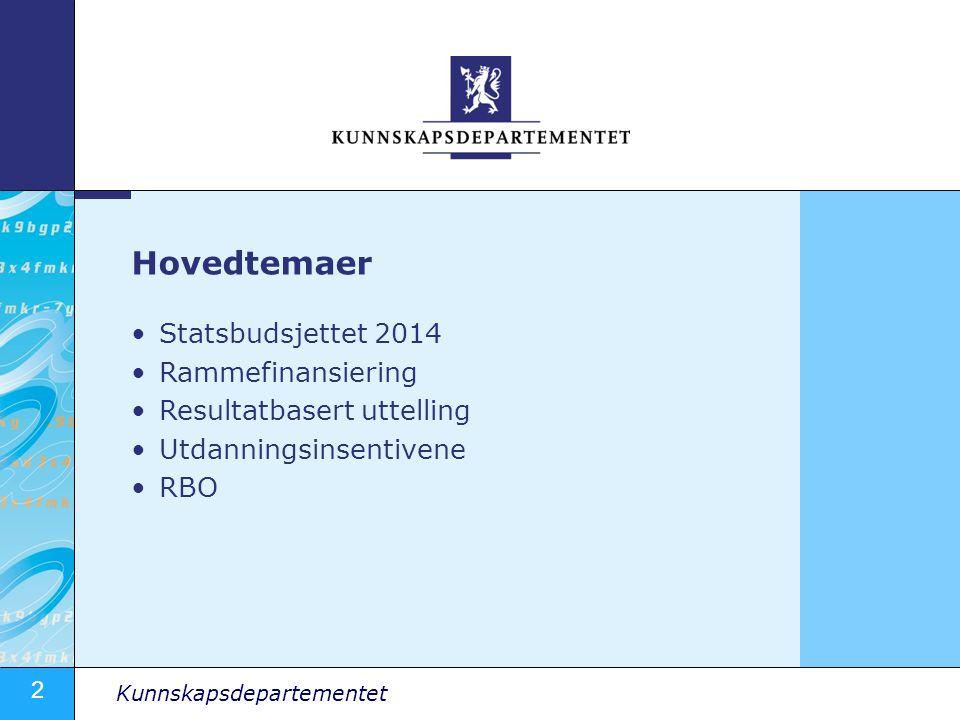 2 Kunnskapsdepartementet Statsbudsjettet 2014 Rammefinansiering Resultatbasert uttelling Utdanningsinsentivene RBO Hovedtemaer