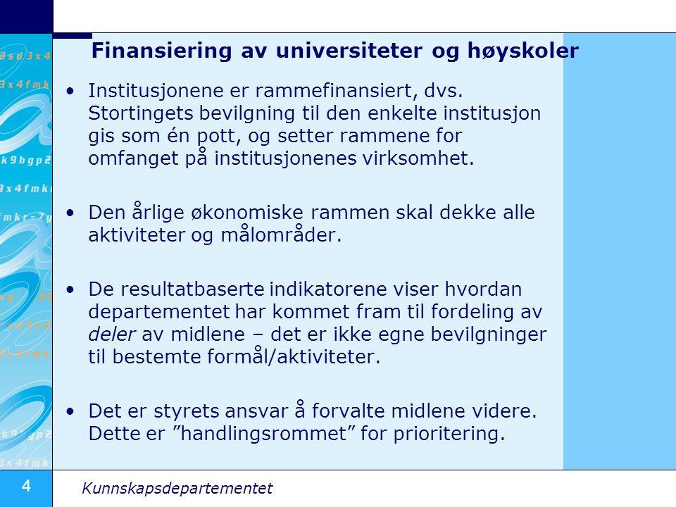 4 Kunnskapsdepartementet Finansiering av universiteter og høyskoler Institusjonene er rammefinansiert, dvs. Stortingets bevilgning til den enkelte ins