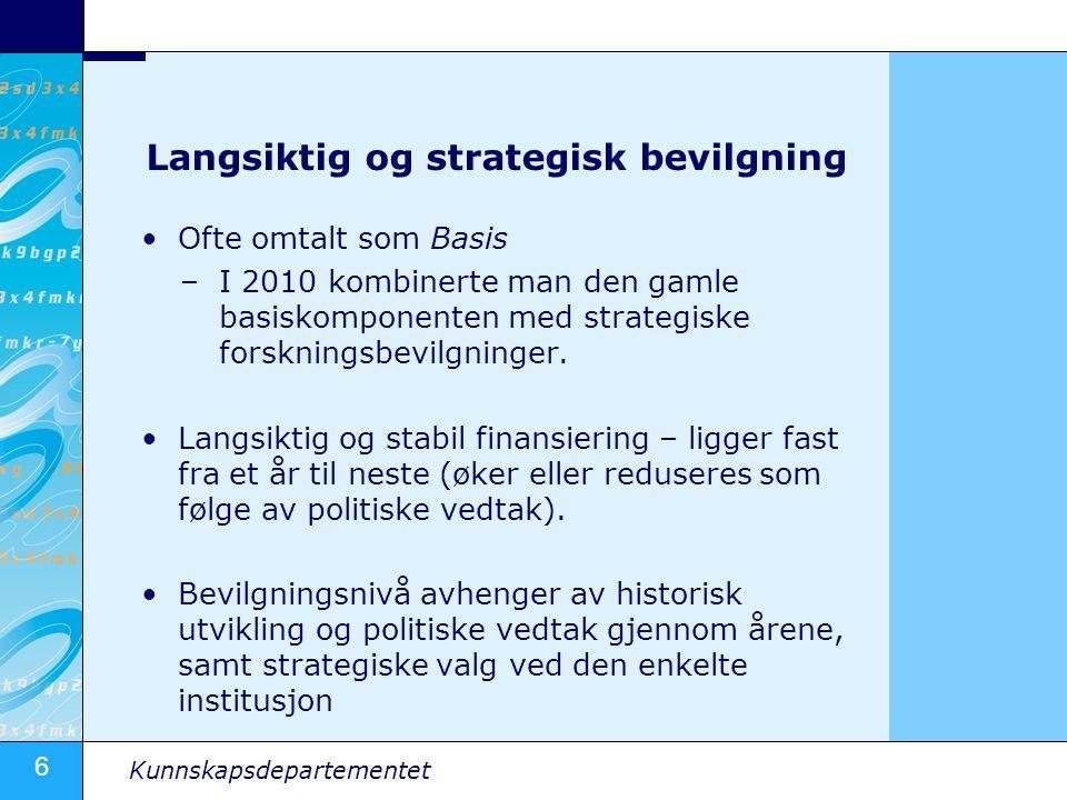 6 Kunnskapsdepartementet Langsiktig og strategisk bevilgning Ofte omtalt som Basis –I 2010 kombinerte man den gamle basiskomponenten med strategiske f