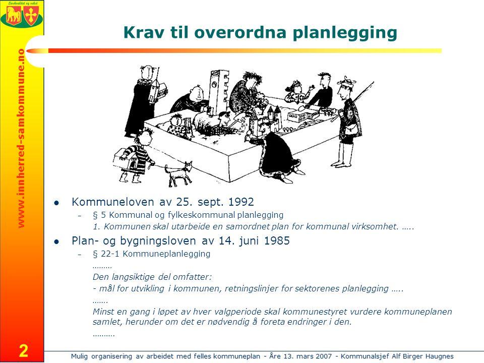 Mulig organisering av arbeidet med felles kommuneplan - Åre 13. mars 2007 - Kommunalsjef Alf Birger Haugnes www.innherred-samkommune.no 2 Krav til ove