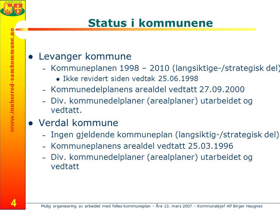 Mulig organisering av arbeidet med felles kommuneplan - Åre 13. mars 2007 - Kommunalsjef Alf Birger Haugnes www.innherred-samkommune.no 4 Status i kom