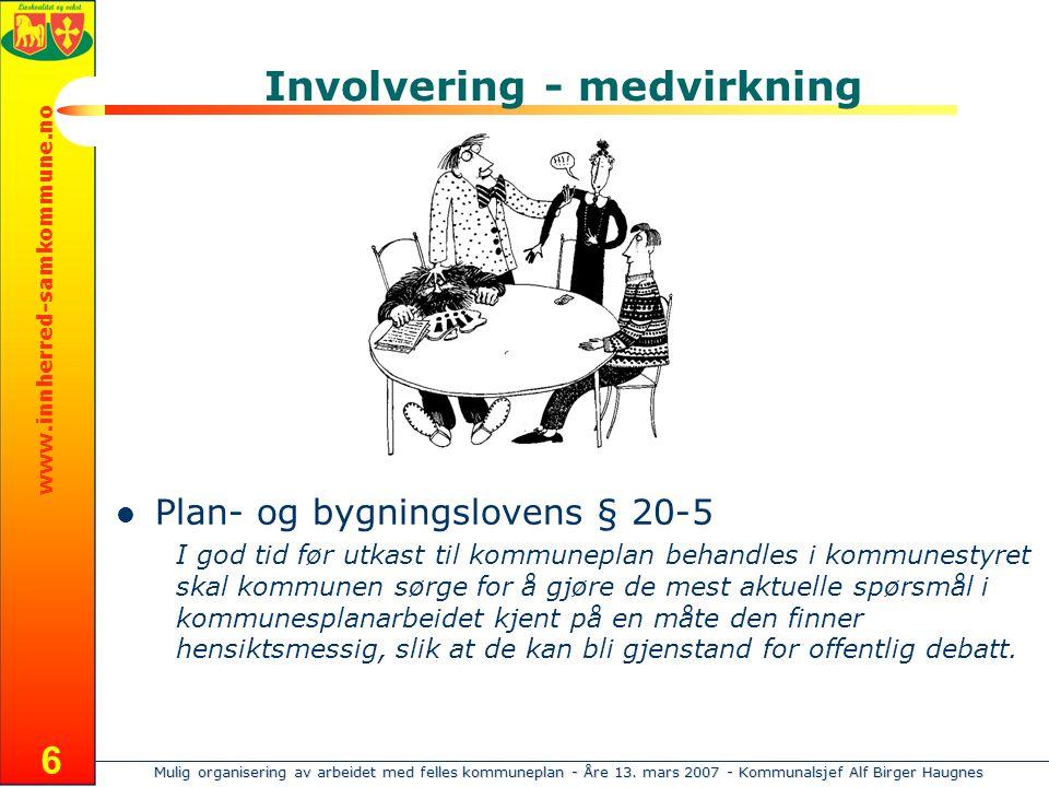 Mulig organisering av arbeidet med felles kommuneplan - Åre 13. mars 2007 - Kommunalsjef Alf Birger Haugnes www.innherred-samkommune.no 6 Involvering