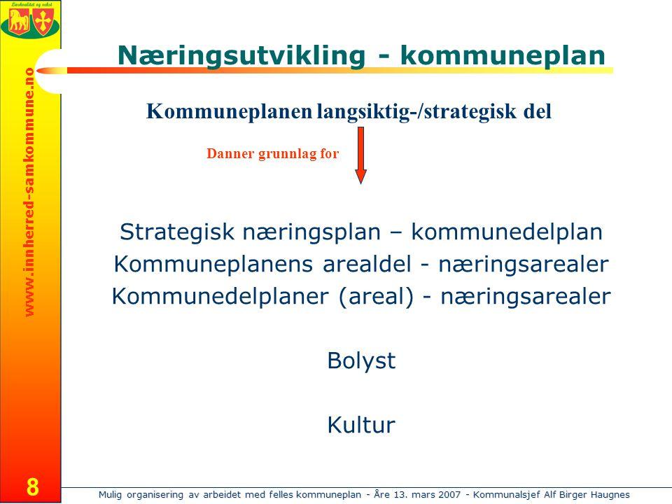 Mulig organisering av arbeidet med felles kommuneplan - Åre 13. mars 2007 - Kommunalsjef Alf Birger Haugnes www.innherred-samkommune.no 8 Næringsutvik