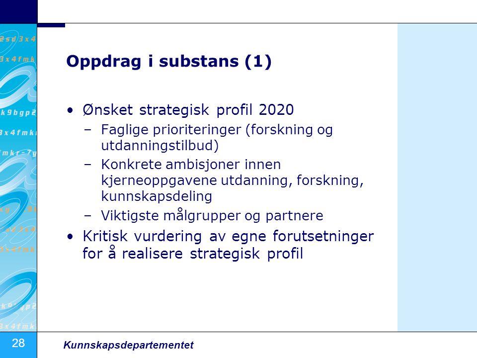 28 Kunnskapsdepartementet Oppdrag i substans (1) Ønsket strategisk profil 2020 –Faglige prioriteringer (forskning og utdanningstilbud) –Konkrete ambis