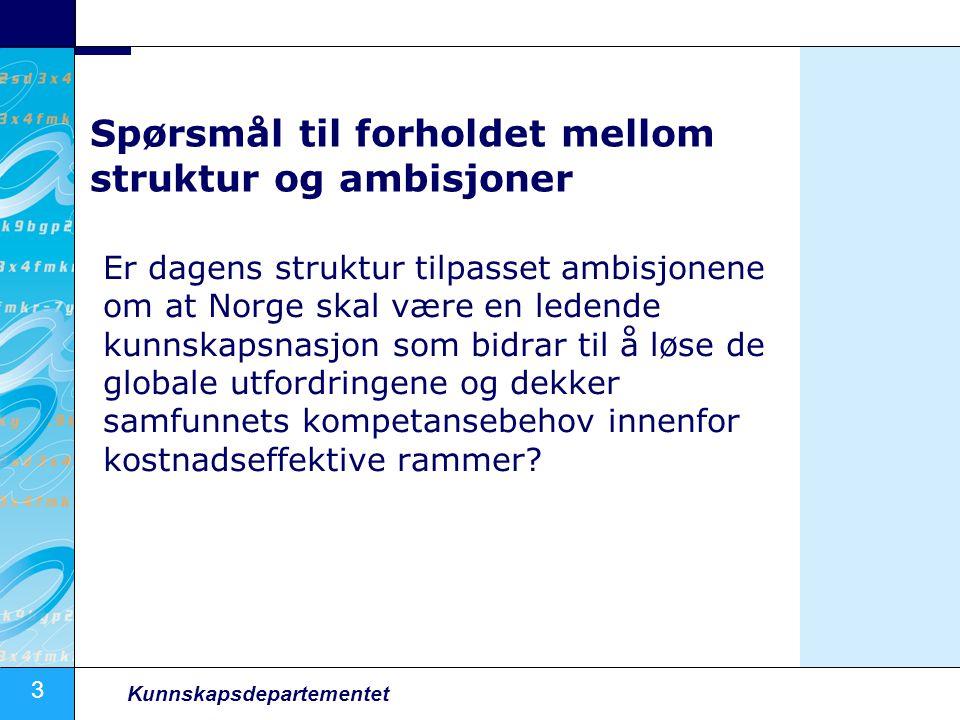 3 Kunnskapsdepartementet Spørsmål til forholdet mellom struktur og ambisjoner Er dagens struktur tilpasset ambisjonene om at Norge skal være en ledend