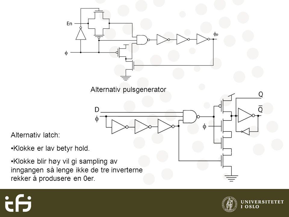 Alternativ pulsgenerator Alternativ latch: Klokke er lav betyr hold. Klokke blir høy vil gi sampling av inngangen så lenge ikke de tre inverterne rekk