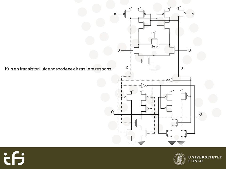 Kun en transistor i utgangsportene gir raskere respons.