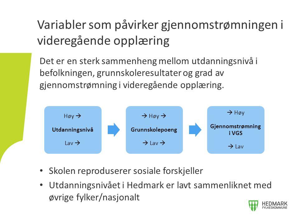 Utdanningsnivå i Hedmark og nasjonalt delt på kjønn.