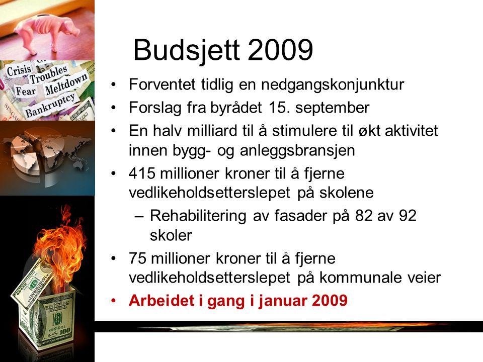 Budsjett 2009 Forventet tidlig en nedgangskonjunktur Forslag fra byrådet 15. september En halv milliard til å stimulere til økt aktivitet innen bygg-