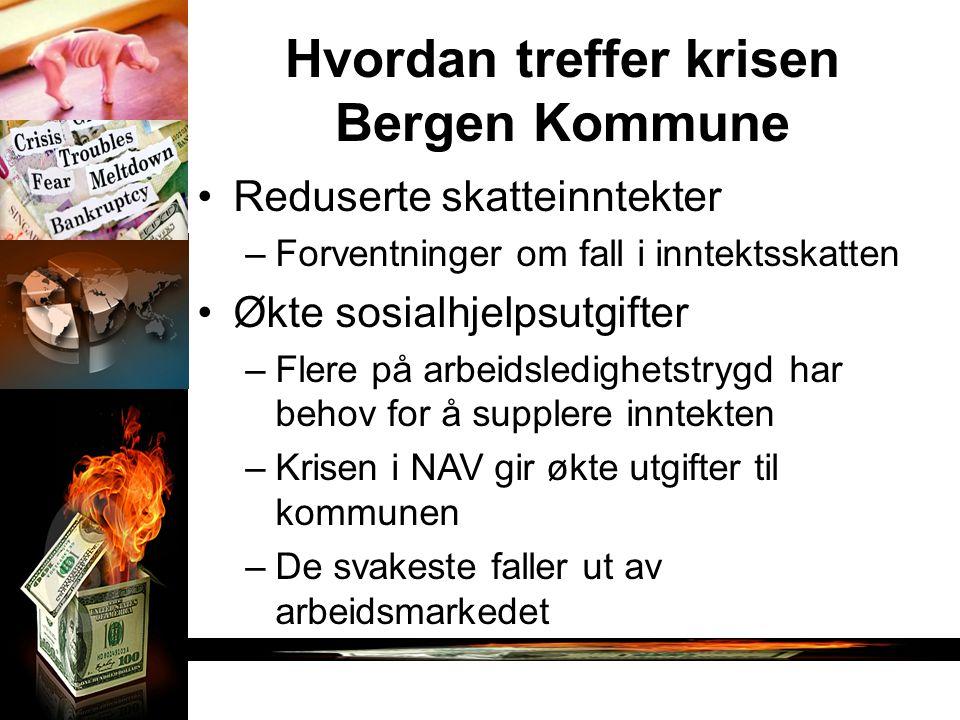 Hvordan treffer krisen Bergen Kommune Reduserte skatteinntekter –Forventninger om fall i inntektsskatten Økte sosialhjelpsutgifter –Flere på arbeidsle