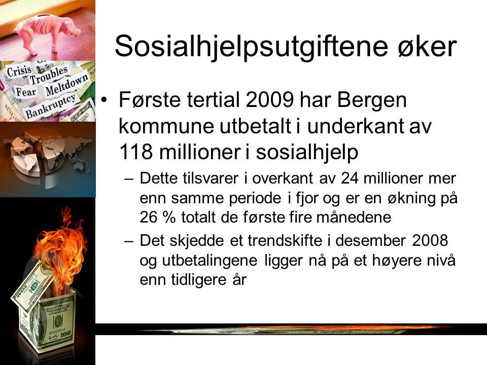 Sosialhjelpsutgiftene øker Første tertial 2009 har Bergen kommune utbetalt i underkant av 118 millioner i sosialhjelp –Dette tilsvarer i overkant av 24 millioner mer enn samme periode i fjor og er en økning på 26 % totalt de første fire månedene –Det skjedde et trendskifte i desember 2008 og utbetalingene ligger nå på et høyere nivå enn tidligere år