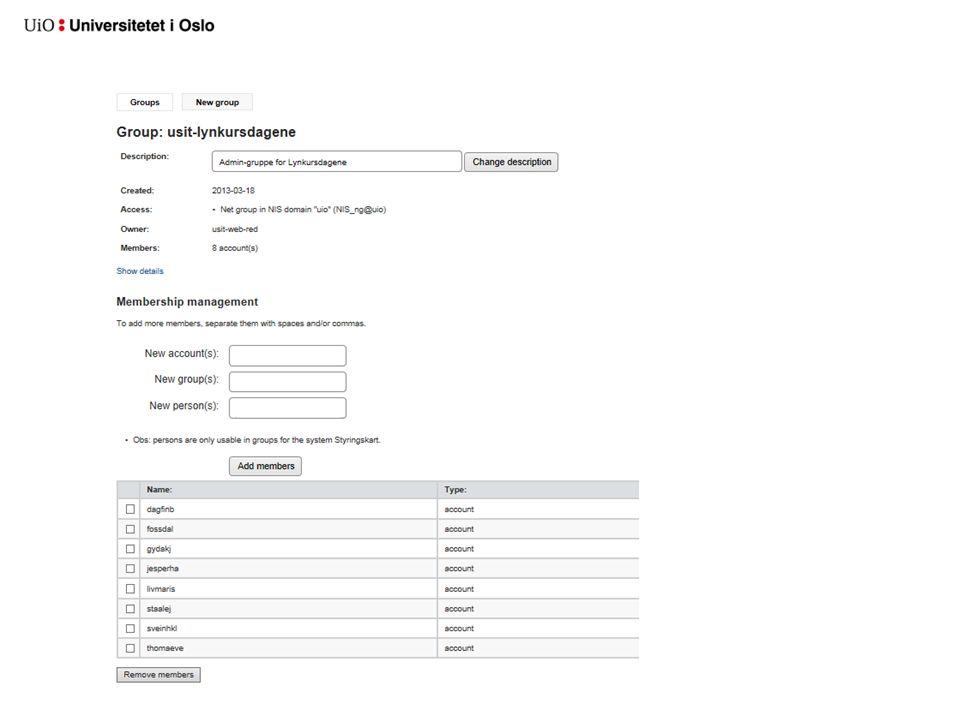 Moderere en gruppe (forts.) Legg til nye kontoer (medlemmer) ved å skrive inn brukernavnet til en person.