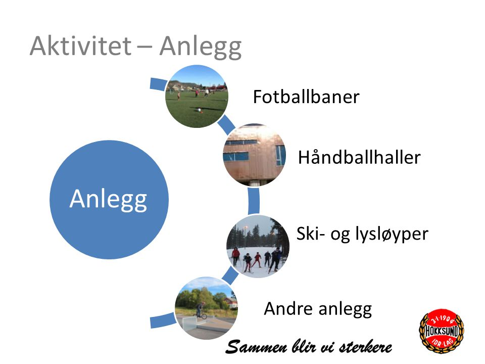 Aktivitet – Anlegg Anlegg Fotballbaner Håndballhaller Ski- og lysløyper Andre anlegg