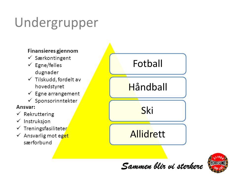 Undergrupper FotballHåndballSkiAllidrett Finansieres gjennom Særkontingent Egne/felles dugnader Tilskudd, fordelt av hovedstyret Egne arrangement Spon