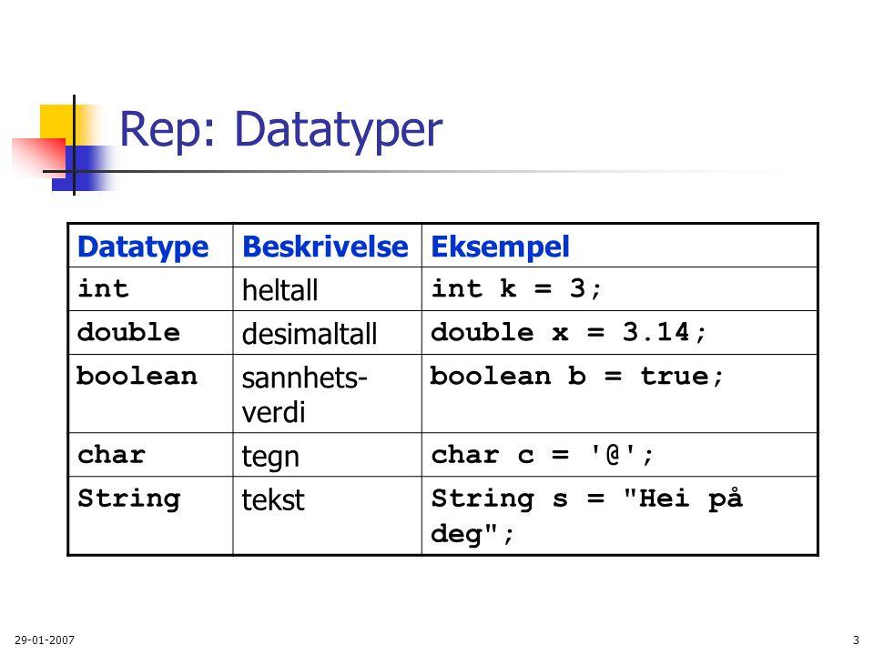 29-01-20073 Rep: Datatyper DatatypeBeskrivelseEksempel int heltall int k = 3; double desimaltall double x = 3.14; boolean sannhets- verdi boolean b =