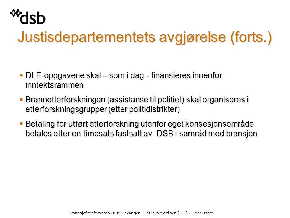 Brannsjefkonferansen 2005, Levanger – Det lokale eltilsyn (DLE) – Tor Suhrke Justisdepartementets avgjørelse (forts.)  DLE-oppgavene skal – som i dag