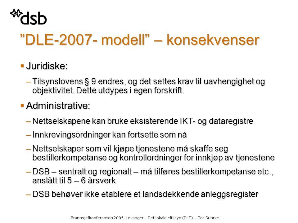 Brannsjefkonferansen 2005, Levanger – Det lokale eltilsyn (DLE) – Tor Suhrke DLE-2007- modell – konsekvenser  Juridiske: –Tilsynslovens § 9 endres, og det settes krav til uavhengighet og objektivitet.