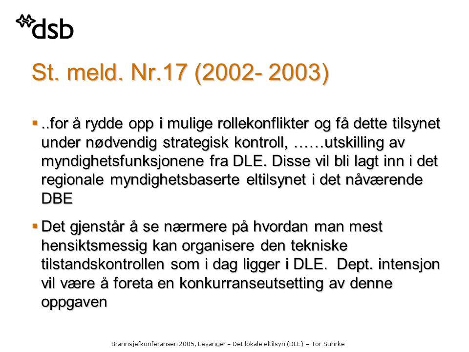 Brannsjefkonferansen 2005, Levanger – Det lokale eltilsyn (DLE) – Tor Suhrke St.