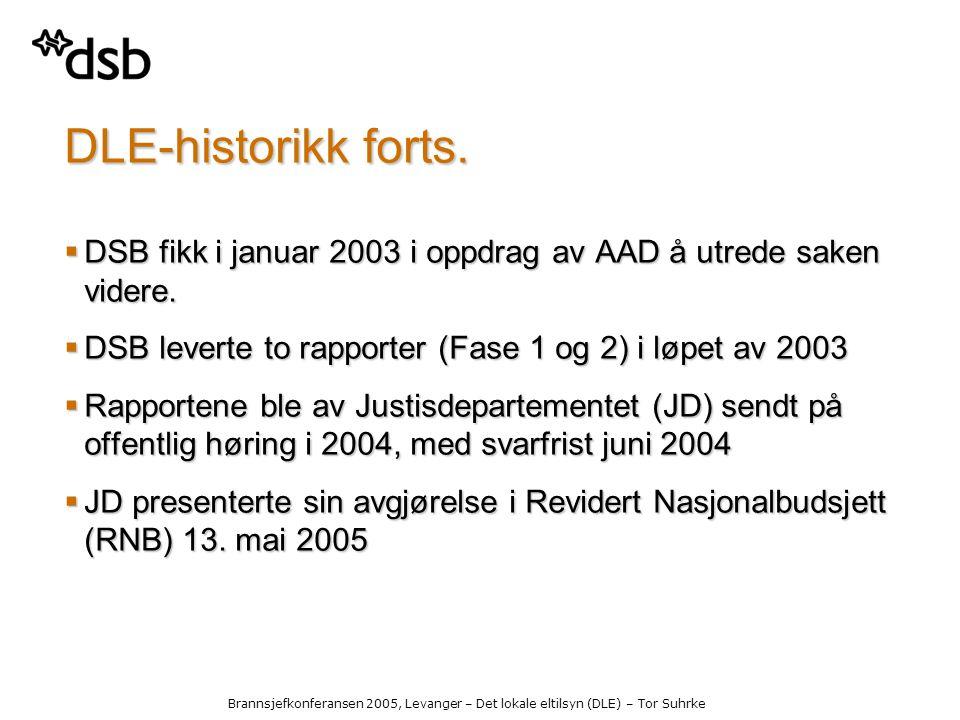 Brannsjefkonferansen 2005, Levanger – Det lokale eltilsyn (DLE) – Tor Suhrke DLE-historikk forts.