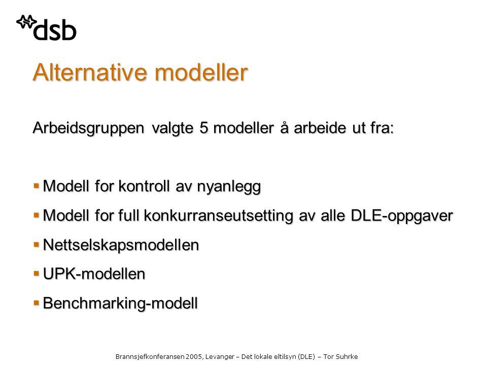 Brannsjefkonferansen 2005, Levanger – Det lokale eltilsyn (DLE) – Tor Suhrke Alternative modeller Arbeidsgruppen valgte 5 modeller å arbeide ut fra:  Modell for kontroll av nyanlegg  Modell for full konkurranseutsetting av alle DLE-oppgaver  Nettselskapsmodellen  UPK-modellen  Benchmarking-modell