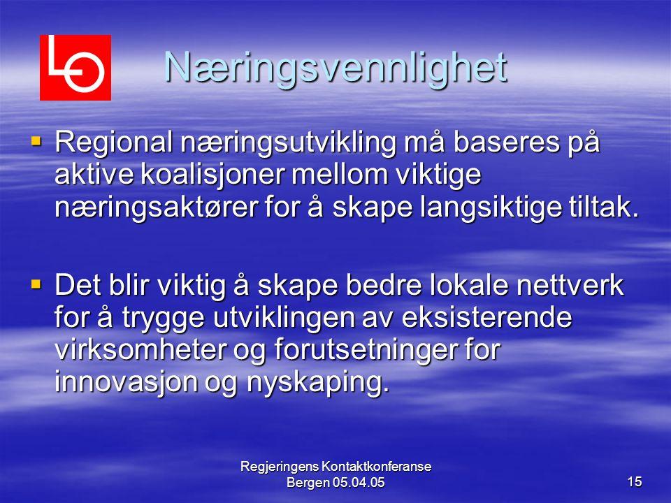 Regjeringens Kontaktkonferanse Bergen 05.04.0515 Næringsvennlighet  Regional næringsutvikling må baseres på aktive koalisjoner mellom viktige nærings